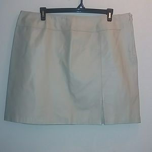 Cream Newport News 100% Leather Skirt